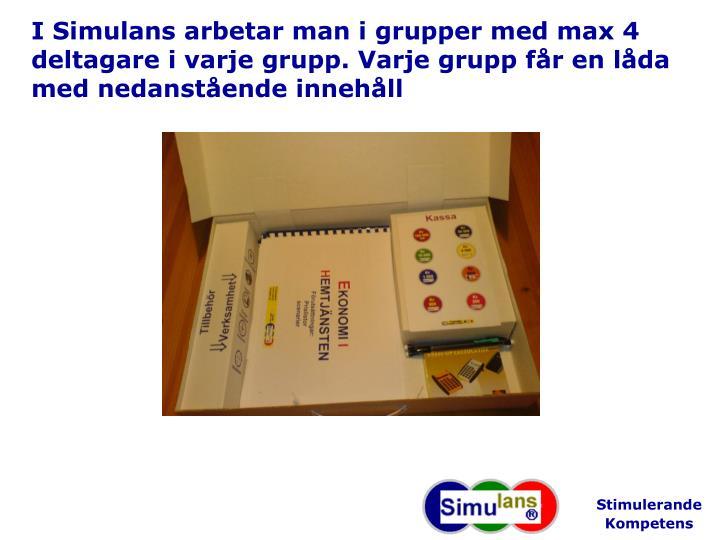 I Simulans arbetar man i grupper med max 4 deltagare i varje grupp. Varje grupp får en låda med nedanstående innehåll