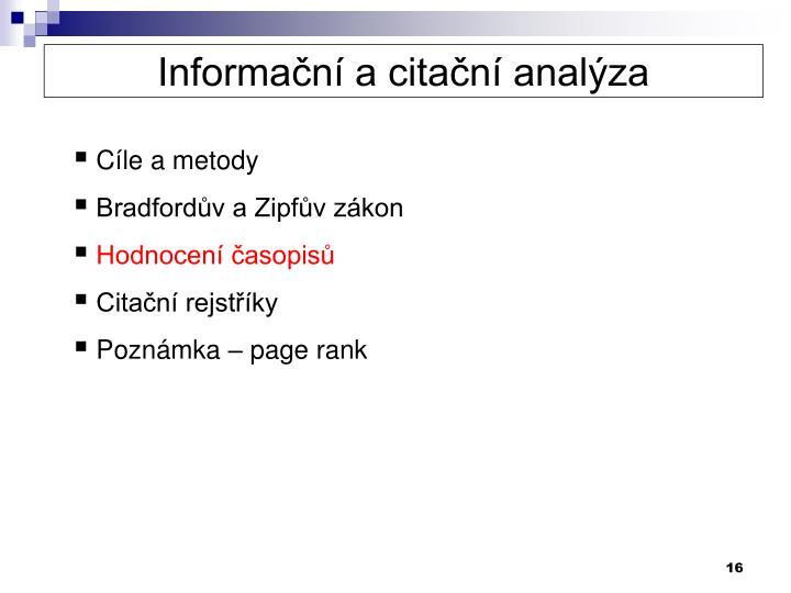 Informační a citační analýza