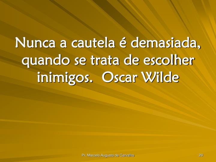 Nunca a cautela é demasiada, quando se trata de escolher inimigos.Oscar Wilde