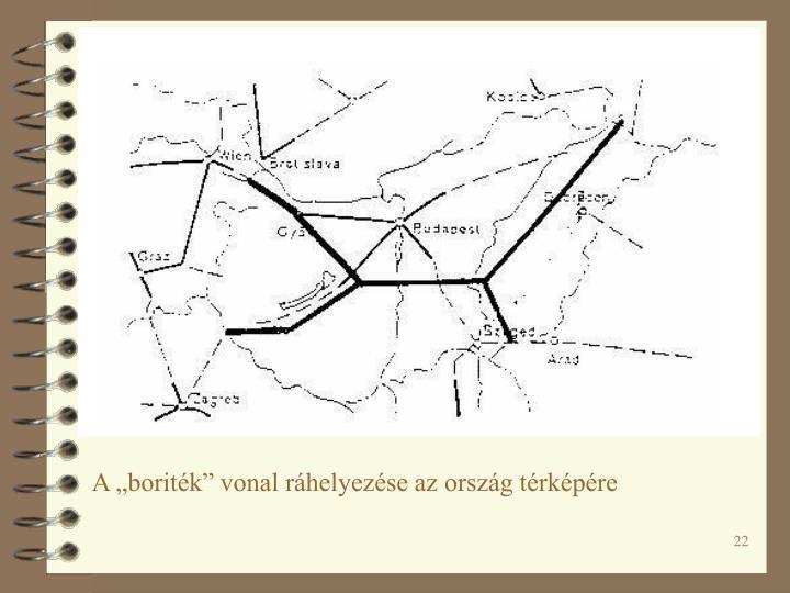 """A """"boriték"""" vonal ráhelyezése az ország térképére"""