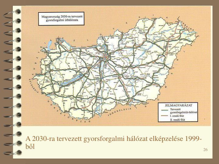 A 2030-ra tervezett gyorsforgalmi hálózat elképzelése 1999-ből