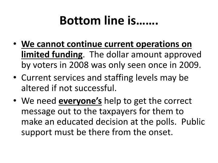 Bottom line is…….