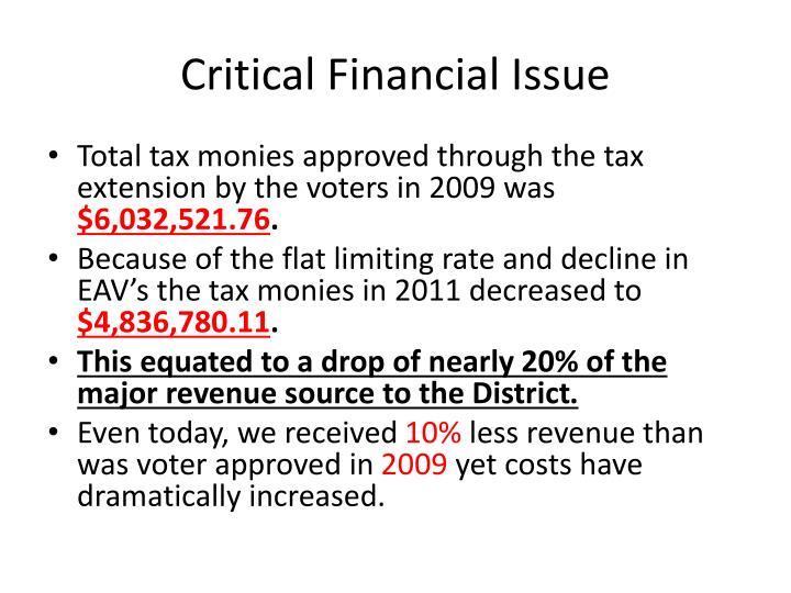 Critical Financial Issue