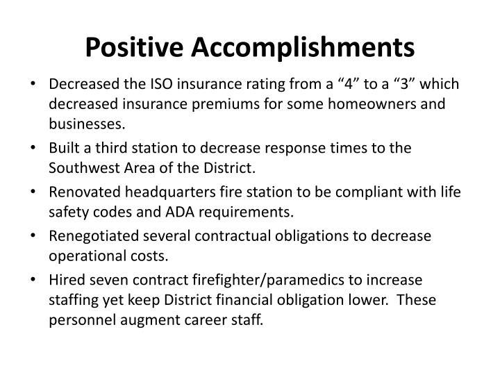 Positive Accomplishments