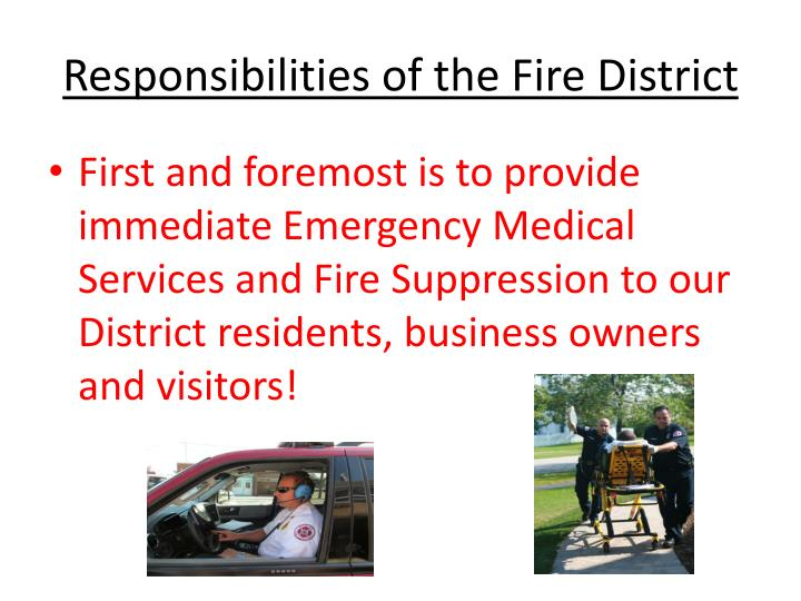 Responsibilities of the Fire District