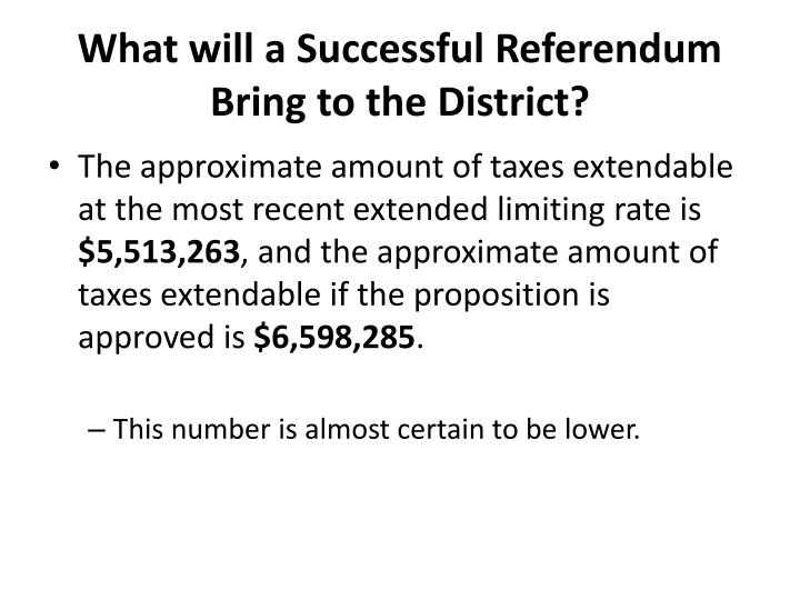 What will a Successful Referendum Bring to the District?