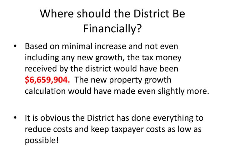 Where should the District Be Financially?