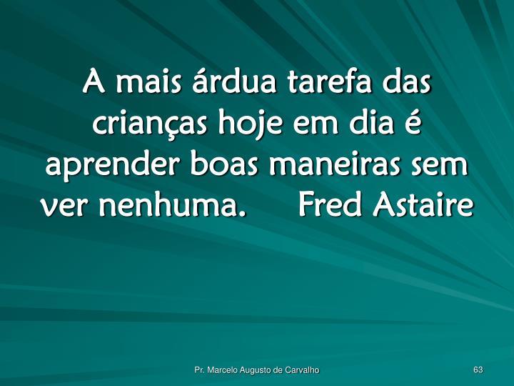 A mais árdua tarefa das crianças hoje em dia é aprender boas maneiras sem ver nenhuma.Fred Astaire