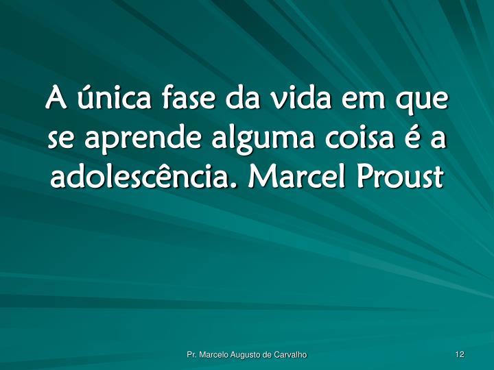 A única fase da vida em que se aprende alguma coisa é a adolescência.Marcel Proust