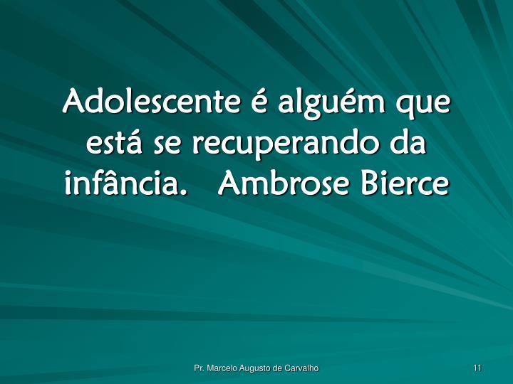 Adolescente é alguém que está se recuperando da infância.Ambrose Bierce