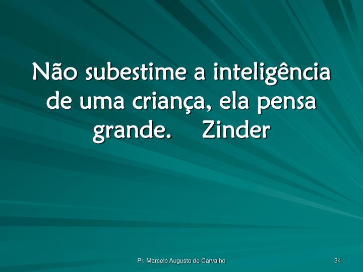 Não subestime a inteligência de uma criança, ela pensa grande.Zinder