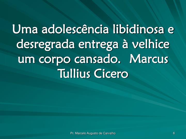 Uma adolescência libidinosa e desregrada entrega à velhice um corpo cansado.Marcus Tullius Cicero