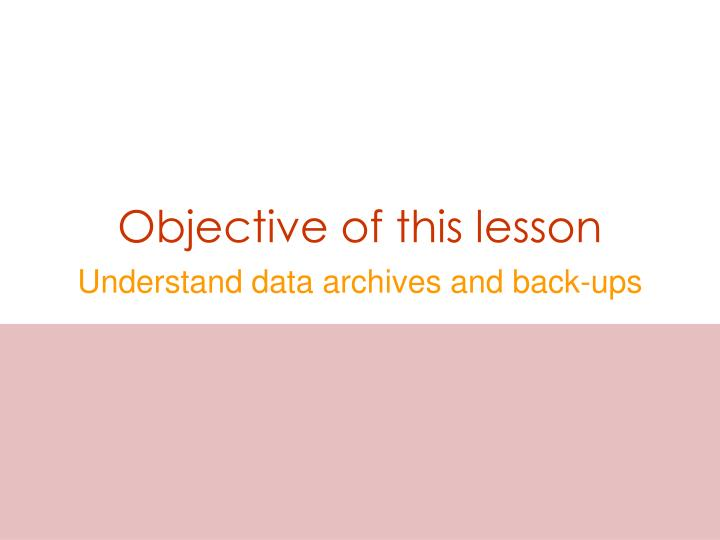 objective of this lesson