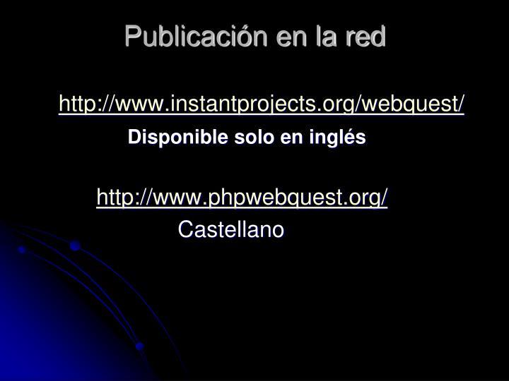 Publicación en la red