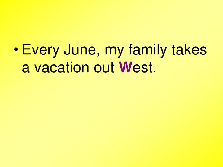 Every June, my family takes a vacation out