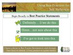using best practices for self reflection