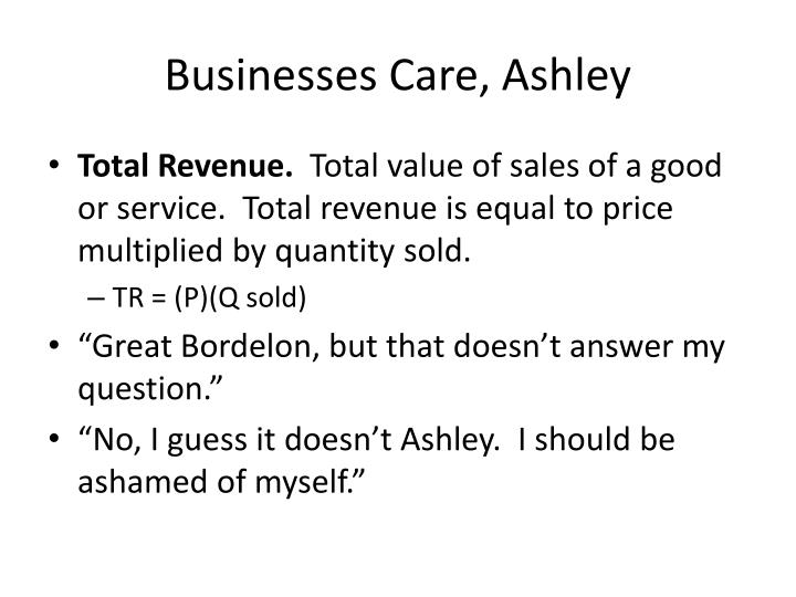 Businesses Care, Ashley