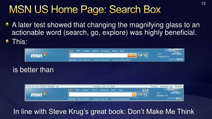 MSN US Home Page: Search Box