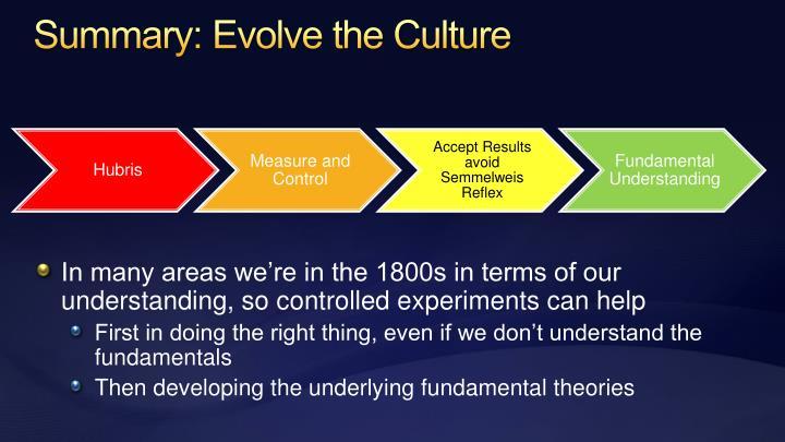 Summary: Evolve the Culture