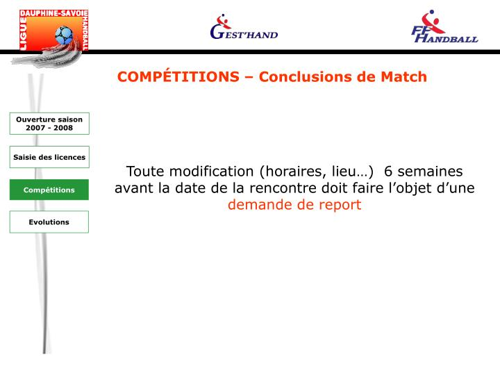 COMPÉTITIONS – Conclusions de Match