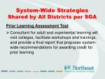 system wide strategies shared by all districts per sga