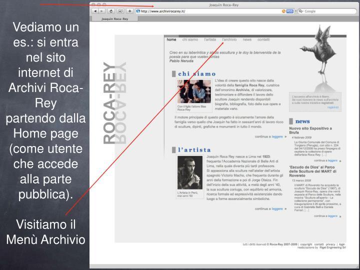 Vediamo un es.: si entra nel sito internet di Archivi Roca-Rey