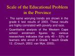 scale of the educational problem in the province