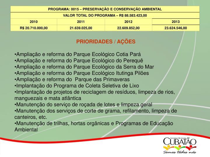 PRIORIDADES / AÇÕES