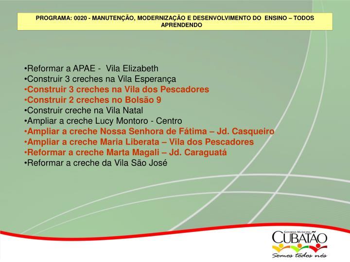 Reformar a APAE -  Vila Elizabeth