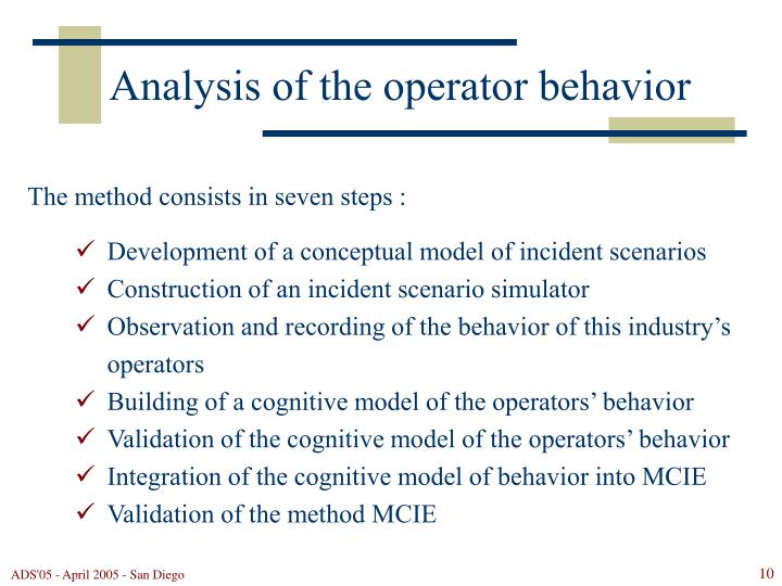 Analysis of the operator behavior