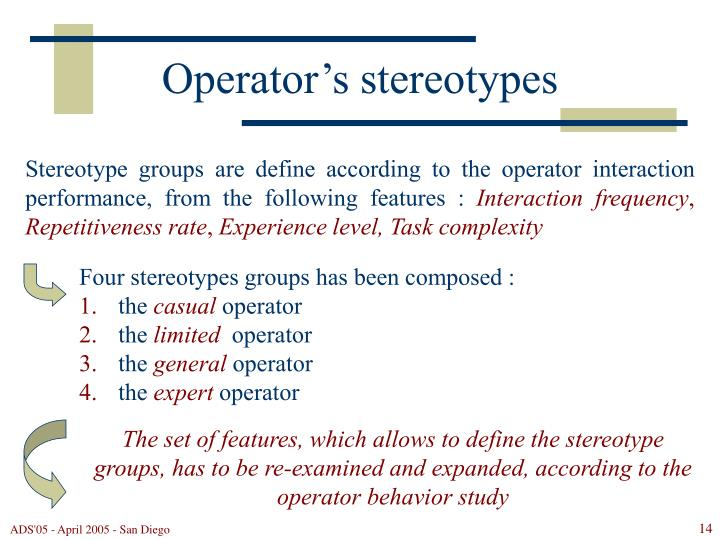 Operator's stereotypes