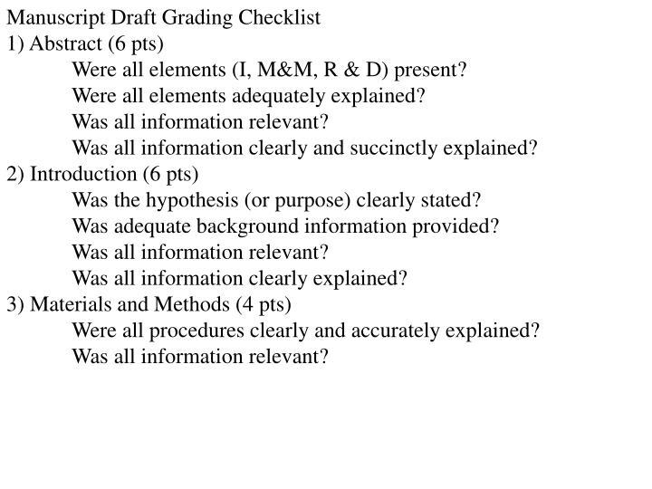Manuscript Draft Grading Checklist