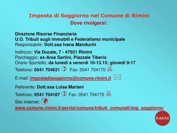 Imposta di Soggiorno nel Comune di Rimini