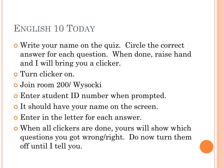 English 10 today