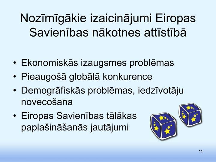 Nozīmīgākie izaicinājumi Eiropas Savienības nākotnes attīstībā