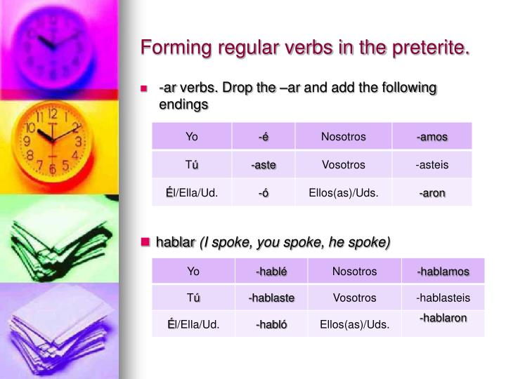 Forming regular verbs in the