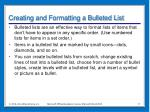 creating and formatting a bulleted list
