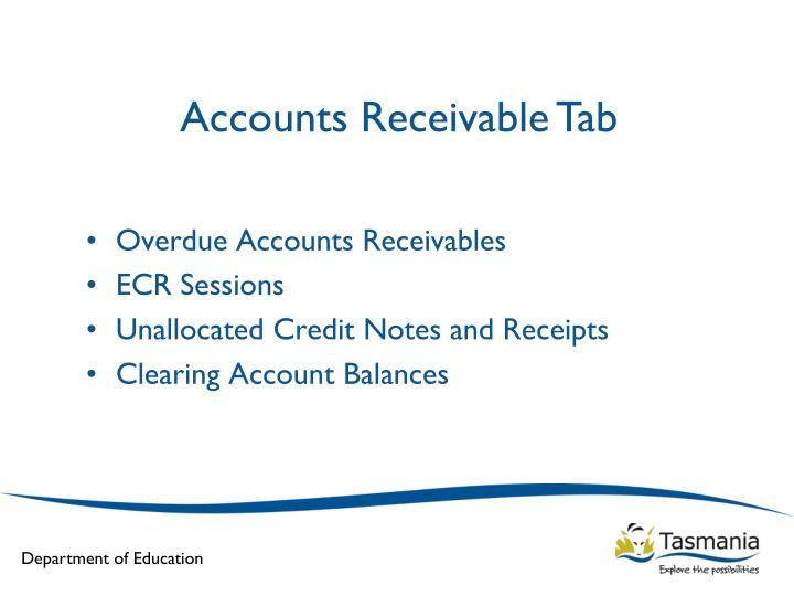 Accounts Receivable Tab
