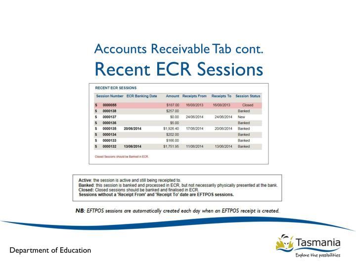 Accounts Receivable Tab cont.