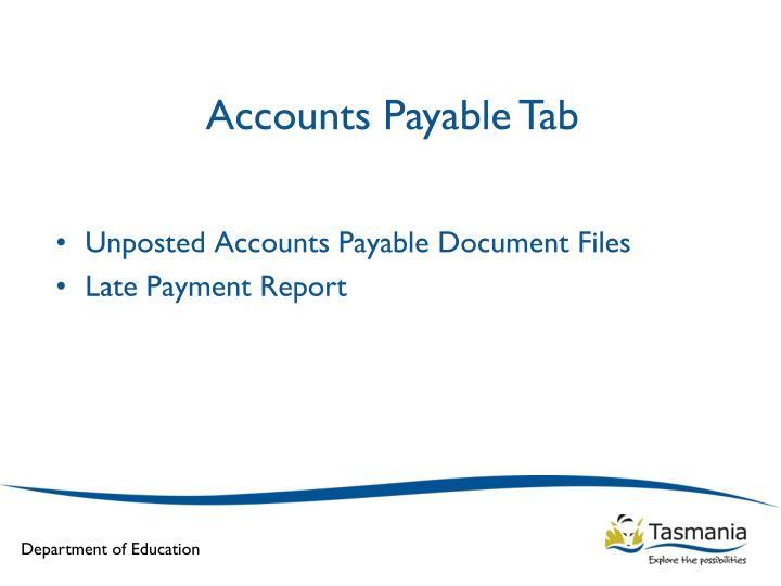Accounts Payable Tab