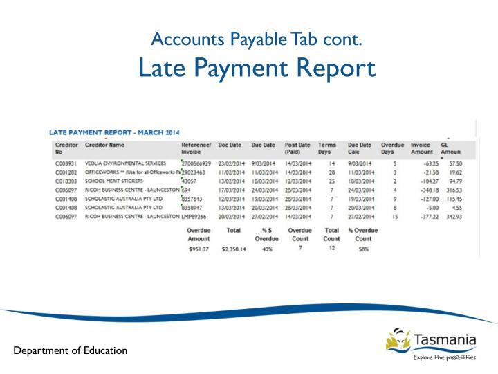 Accounts Payable Tab cont.