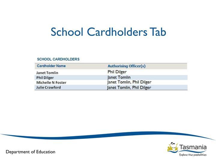 School Cardholders Tab