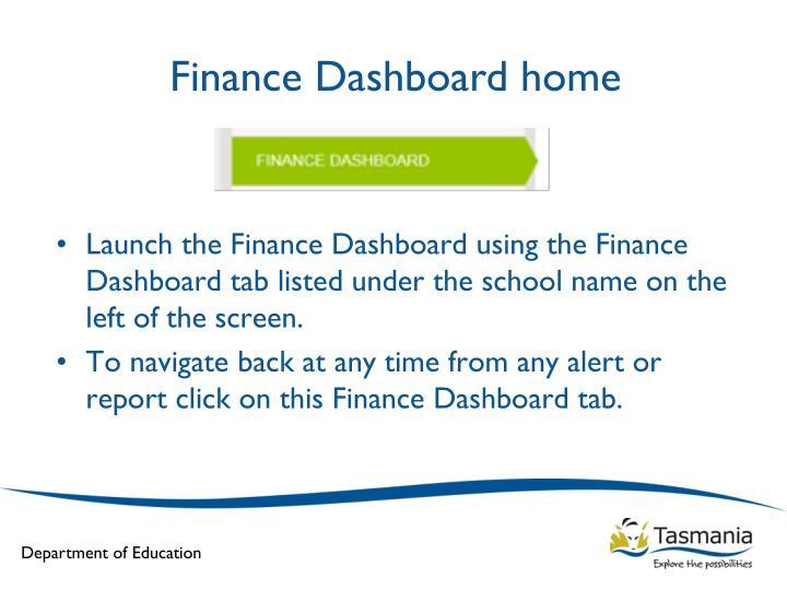 Finance Dashboard home