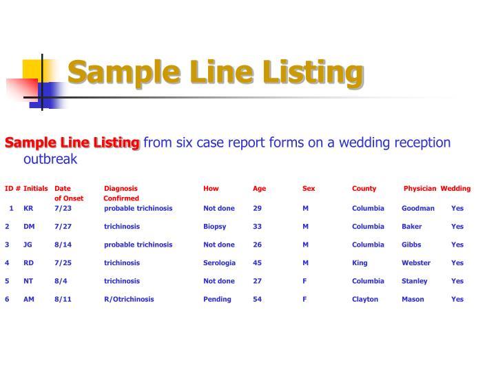 Sample Line Listing