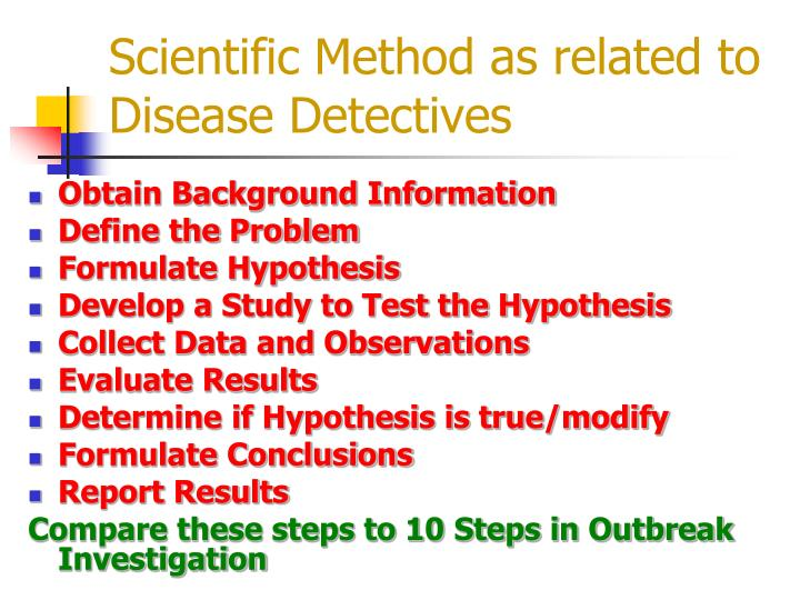 Scientific Method as related to Disease Detectives
