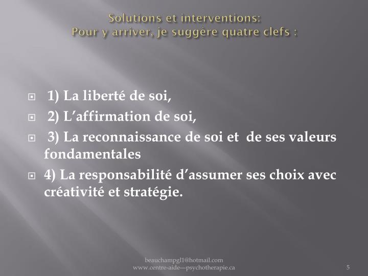 Solutions et interventions: