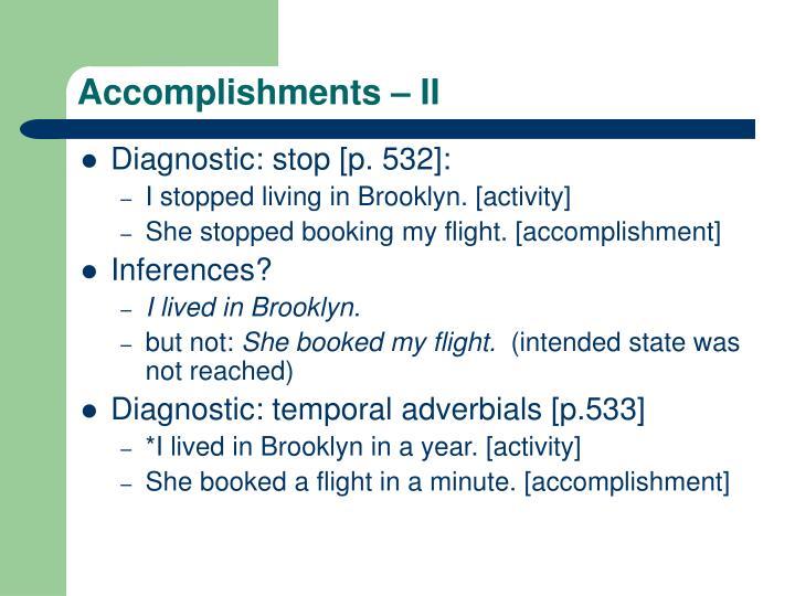 Accomplishments – II