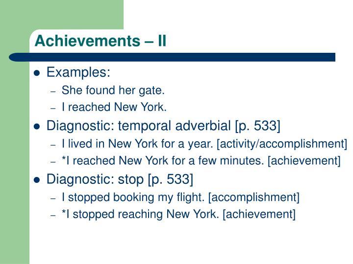 Achievements – II