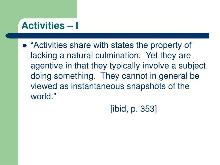 Activities – I