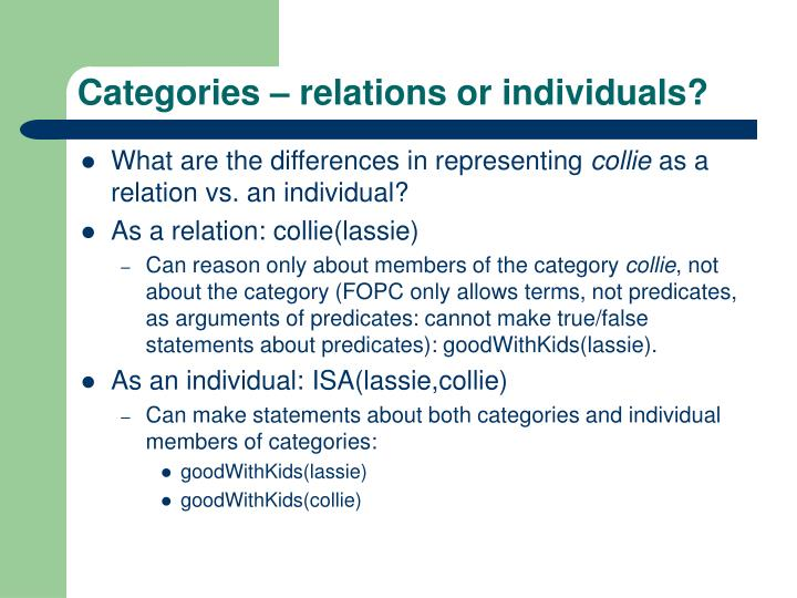 Categories relations or individuals